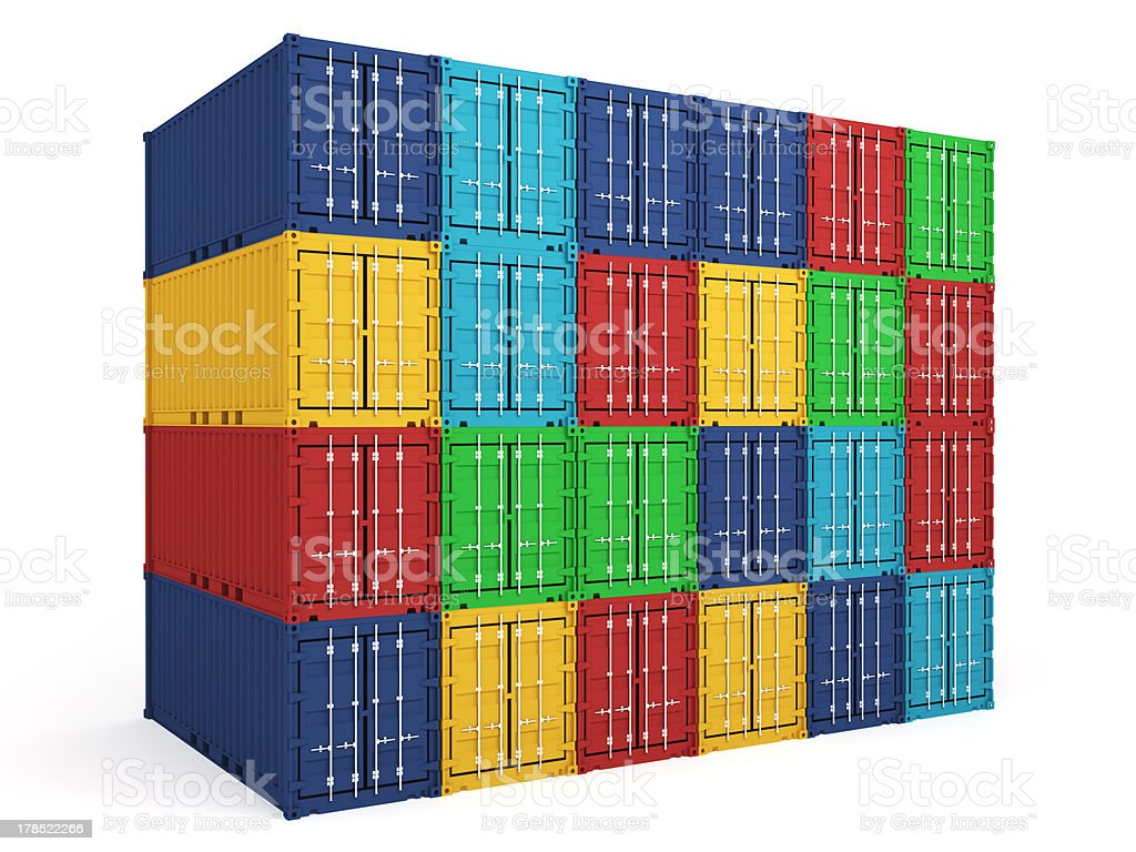 isolated warehouse colored cargo containers royalty-free stock photo