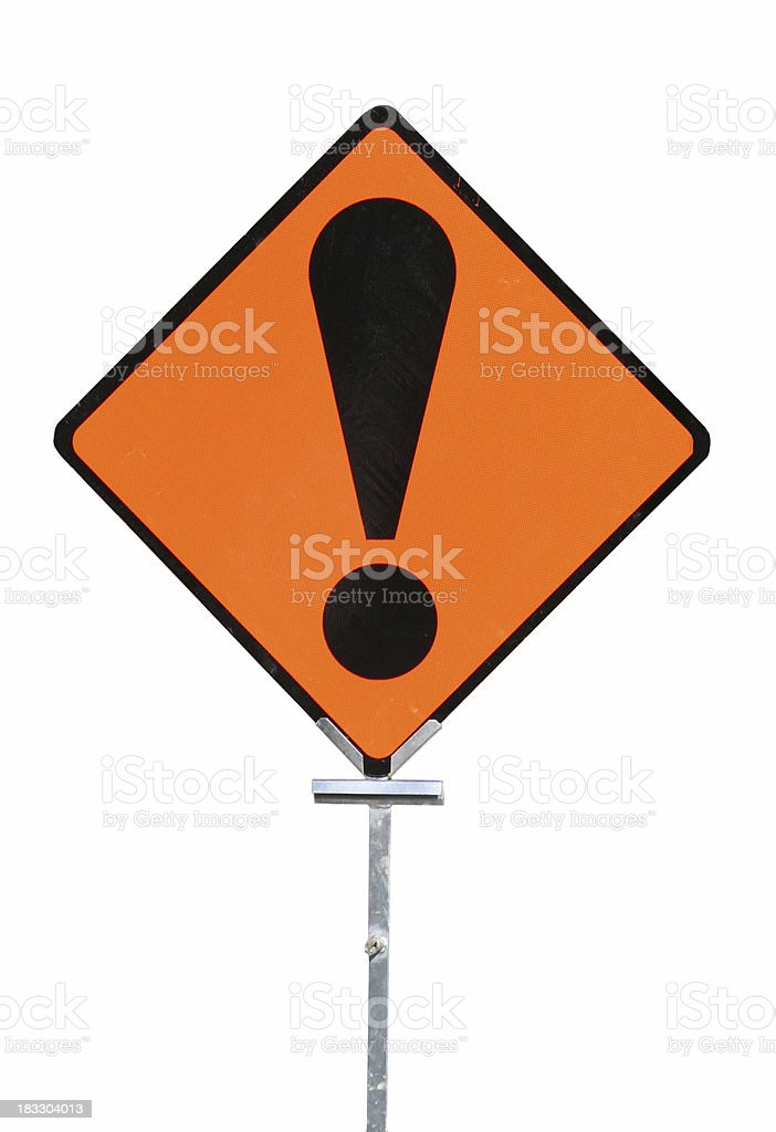 Isolated warning sign royalty-free stock photo