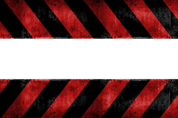 Isolated warning zone pattern in red and black stripes stock photo
