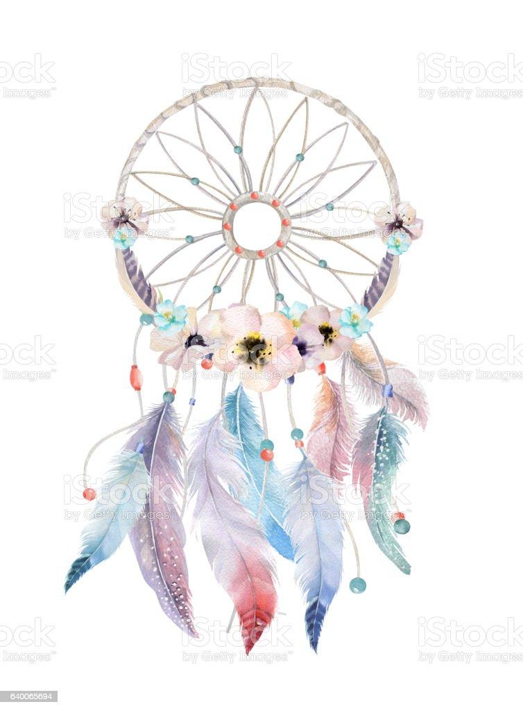 Isolated Watercolor decoration bohemian dreamcatcher. Boho feath stock photo