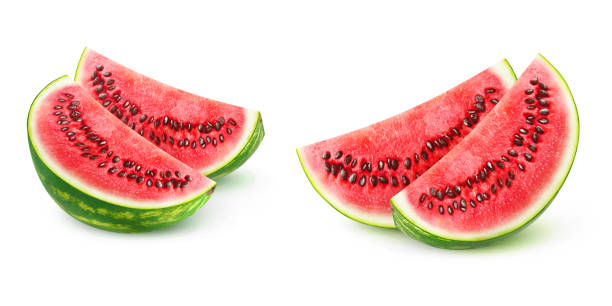 Isolated watermelon pieces stock photo