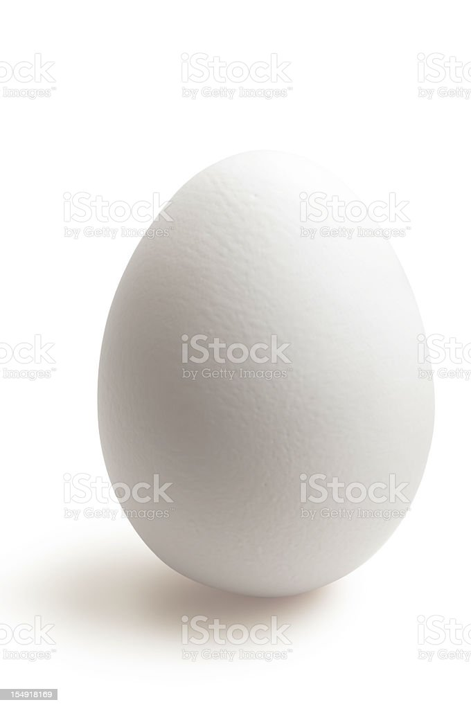 Isolated white egg in white background stock photo