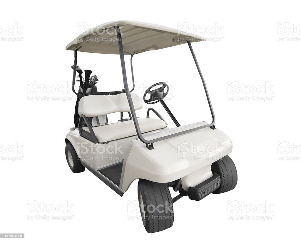 isolated white golf car with club bag stock photo