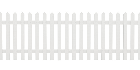 A white painted wooden picket fence in new condition isolated on white. Includes clipping path.