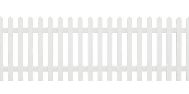 Isolated white painted picket fence stock photo