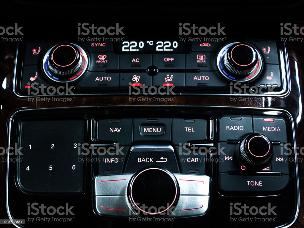 Isolated White Screen Of Vehicle Monitor In Dashboard Stock Photo