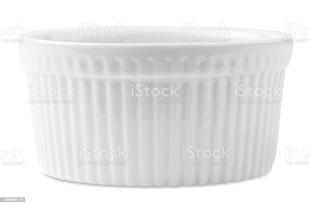 isolated white souffle dish stock photo