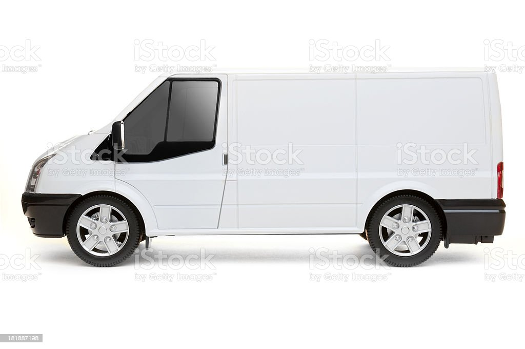 Isolated White Van (with 3 clipping paths) royalty-free stock photo