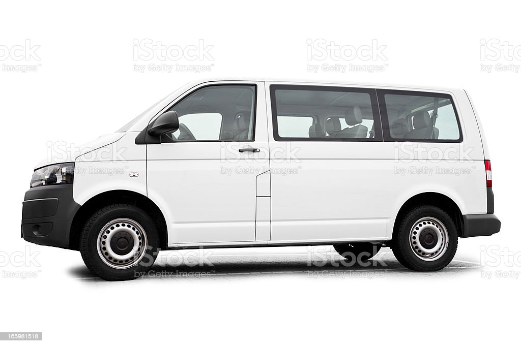 Isolated white Van / Transporter ready for branding stock photo