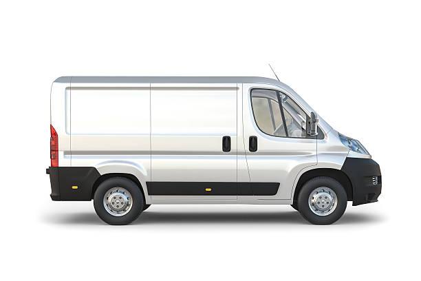 isoliert, weißer kleinbus mit weißem hintergrund - autotransporter stock-fotos und bilder