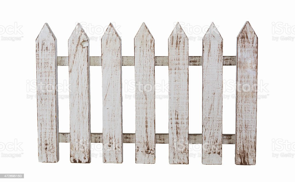 Isolated white wooden fence stock photo