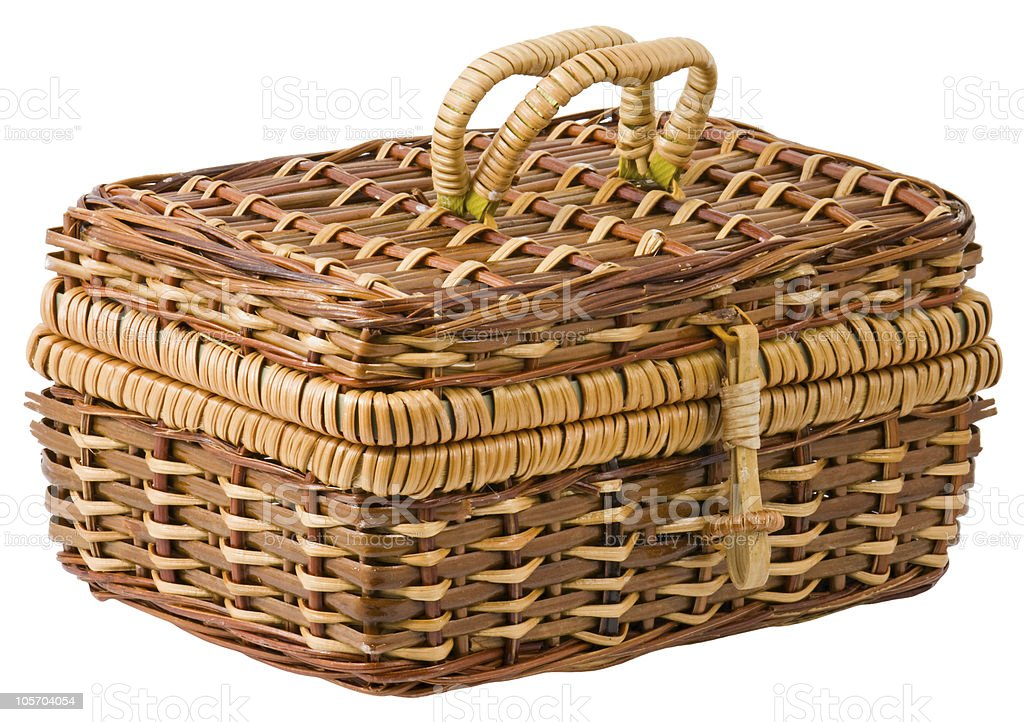 Isolated wicker box on white background royalty-free stock photo