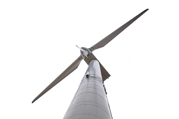 Isolated Wind Turbine Seen from Below stock photo