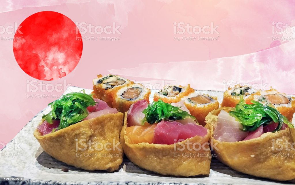 isolated with clipping of local Japanese food sushi served on ceramic plate in foreground and pink abstract brush paint leave for text copy space on background with red circle japan symbol stock photo