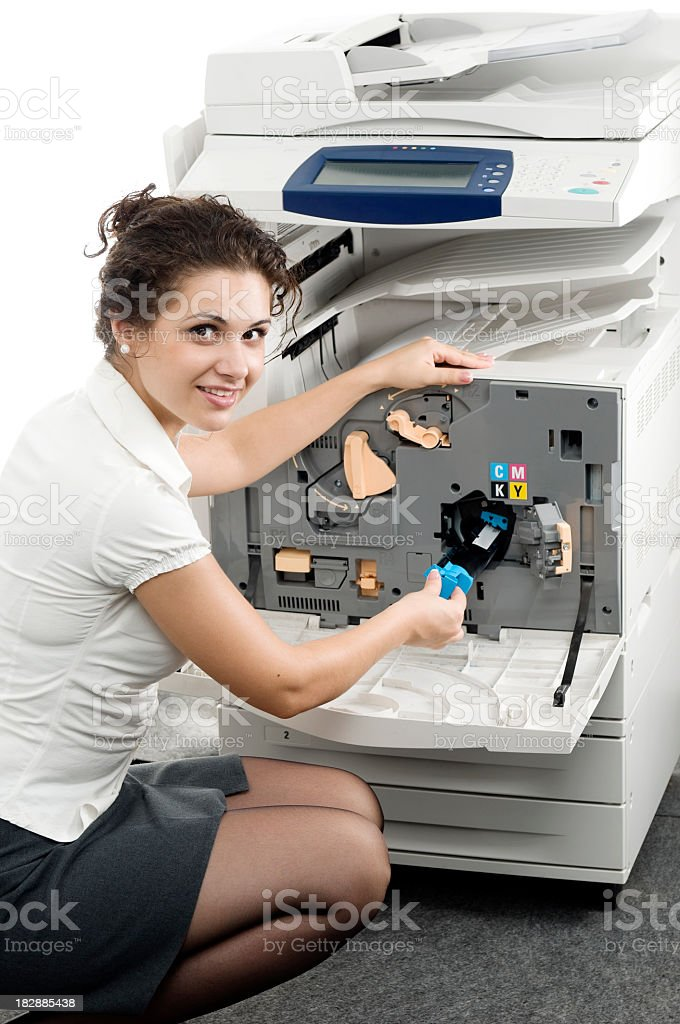 Isolated woman and computer printer stock photo