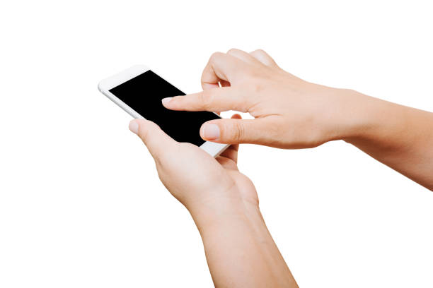 isolierte Frau Hand halten und Touchscreen-Smartphone auf weißem Hintergrund – Foto