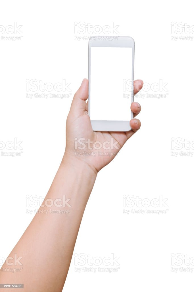 isolated woman hand hold smart phone on white background – Foto