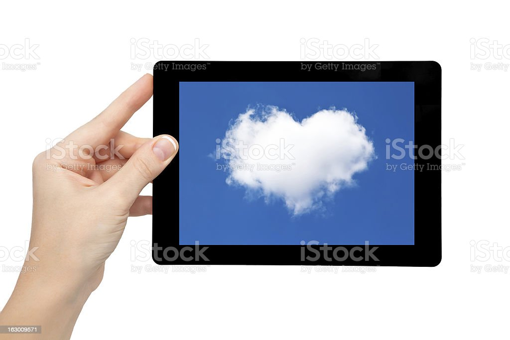 isolated woman hand hold tablet with blue sky cloud heart royalty-free stock photo