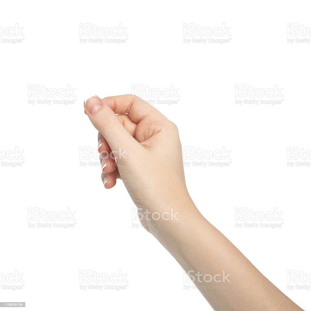 isolated woman hand holding an object stock photo