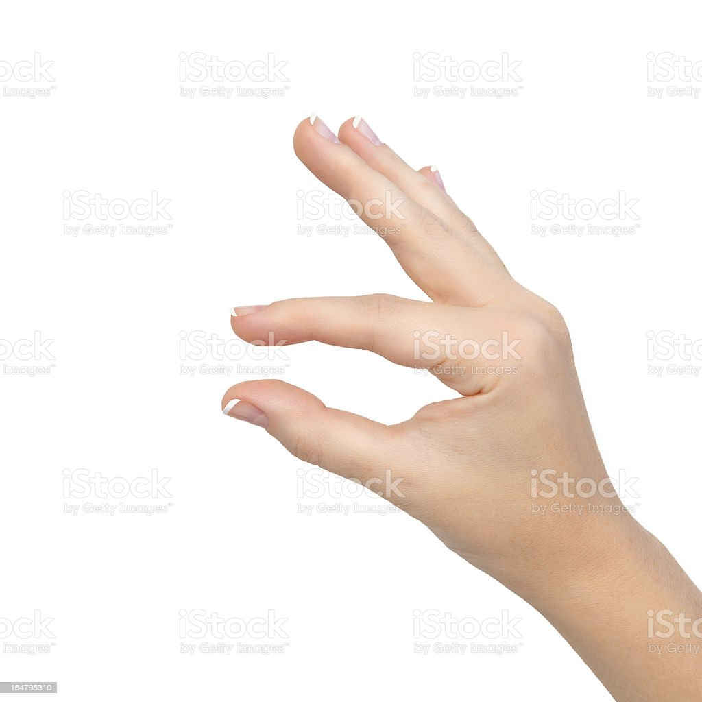 isolated woman hand shows pinch to zoom or holding object royalty-free stock photo