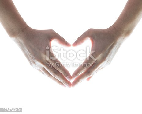 Isolated woman hands in heart shaped on white background
