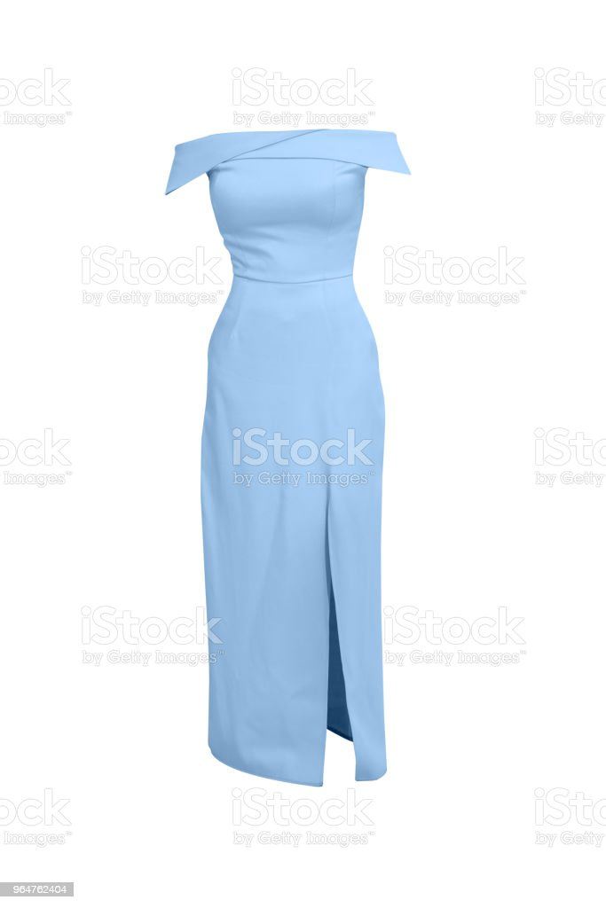 isolated woman sleeveless blue dress clothes royalty-free stock photo