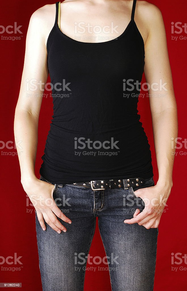 isolated woman's torso with black tank top royalty-free stock photo