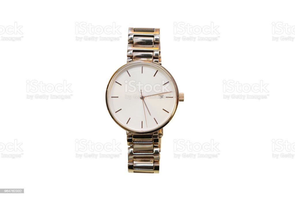 isolated women gold wrist watch royalty-free stock photo