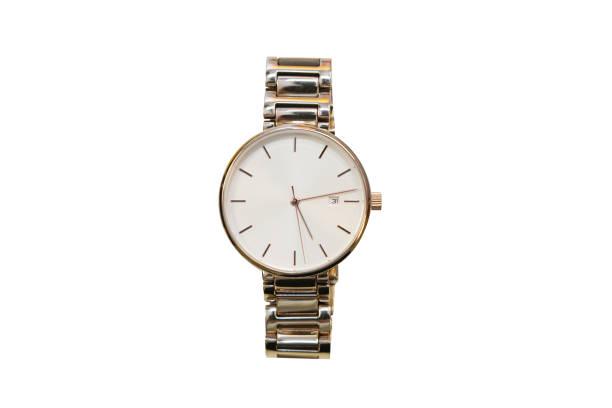 reloj de pulsera de oro aisladas mujeres - reloj de pulsera fotografías e imágenes de stock