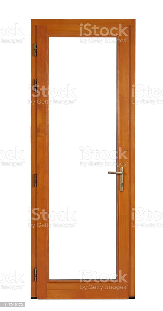 Isolated wooden door royalty-free stock photo