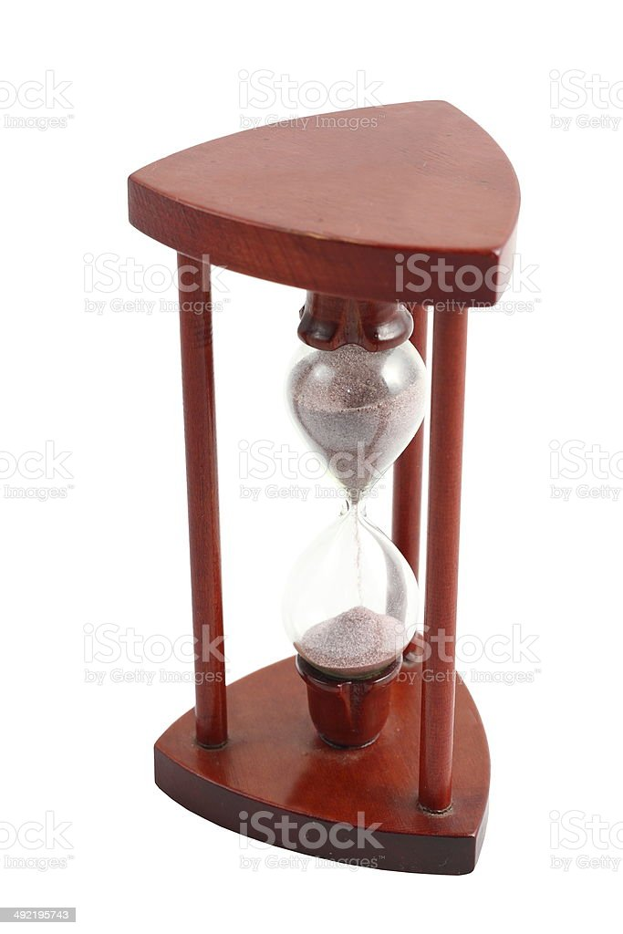 isolated wooden hourglass stock photo