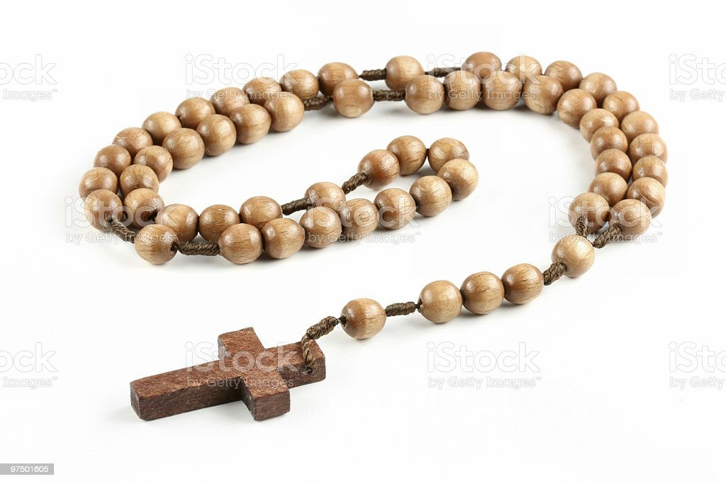 Isolated wooden rosary royalty-free stock photo