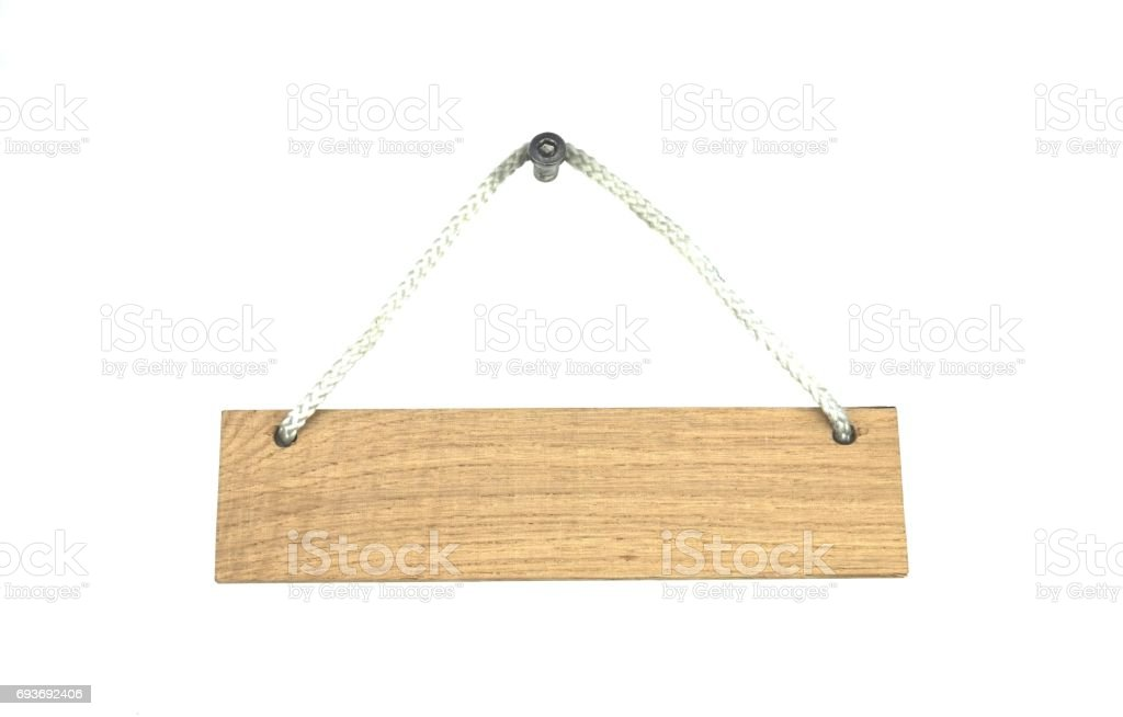 Isolated wooden sign with rope stock photo