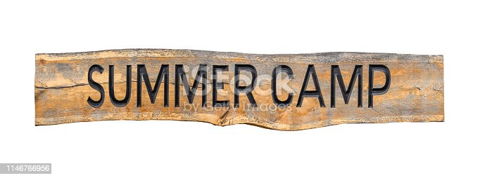 Isolated Retro Rustic Wooden Summer Camp Sign