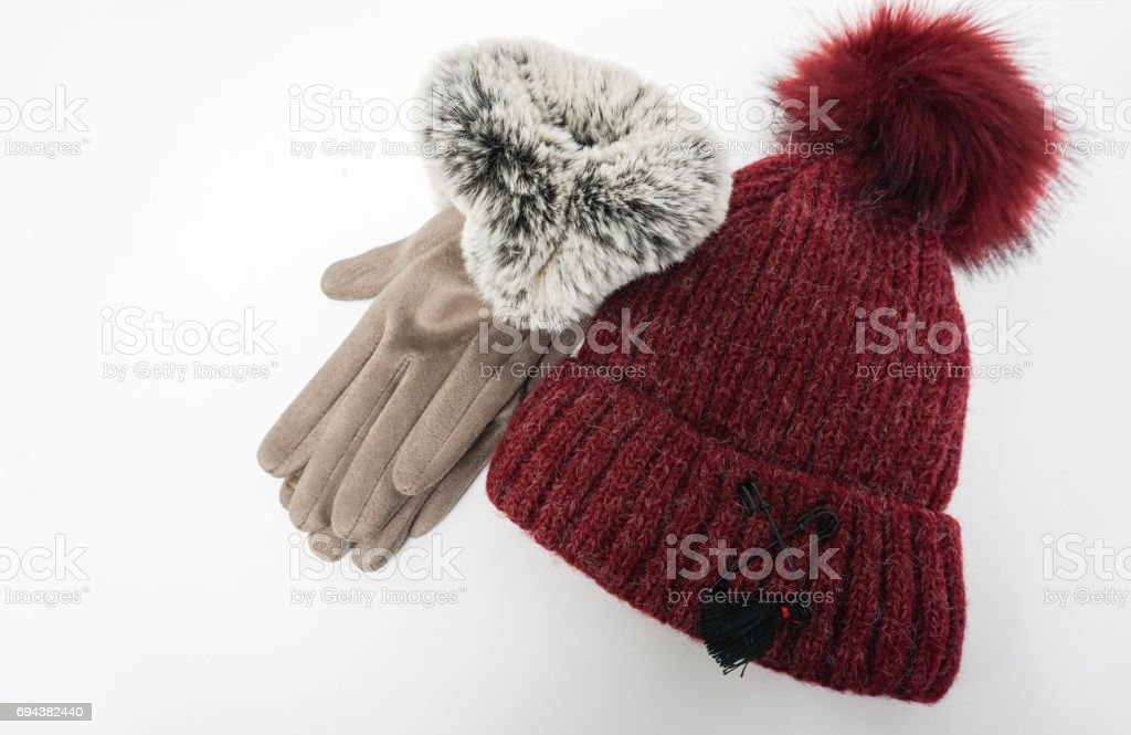 isolated wool hat and women gloves for winter stock photo