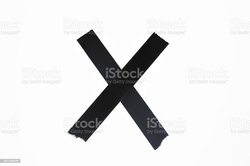 Isolated X Symbol in Black stock photo