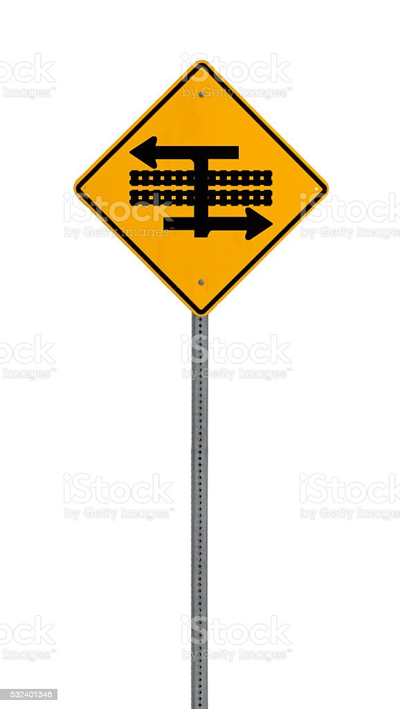 Isolated Yellow driving warning sign stock photo