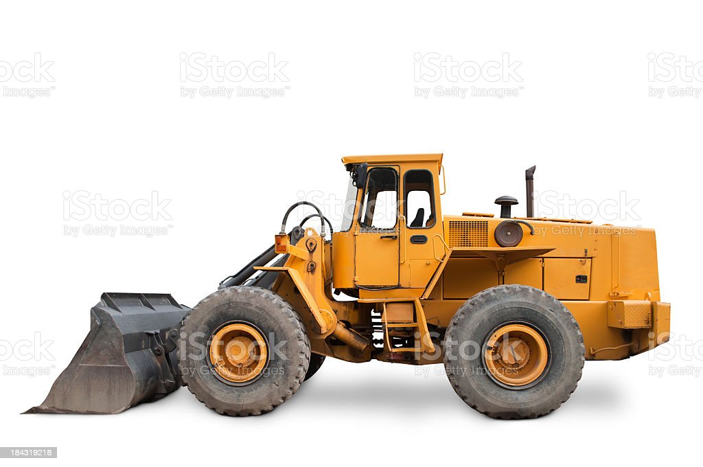 Isolated yellow excavator on white background stock photo