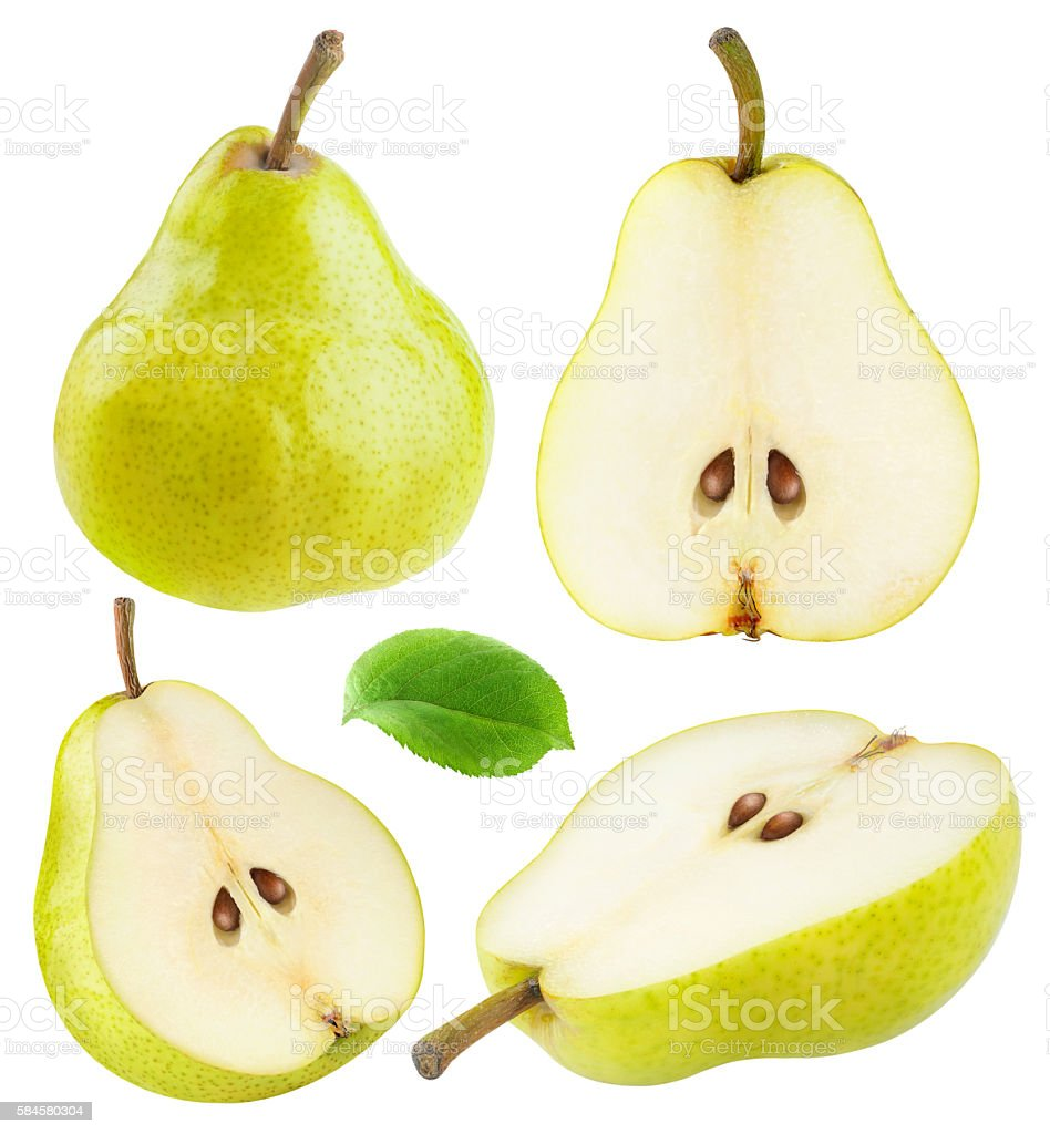 Isolated yellow green pears – Foto