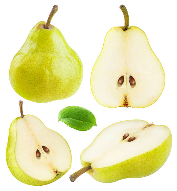 isolated yellow green pears - pera foto e immagini stock