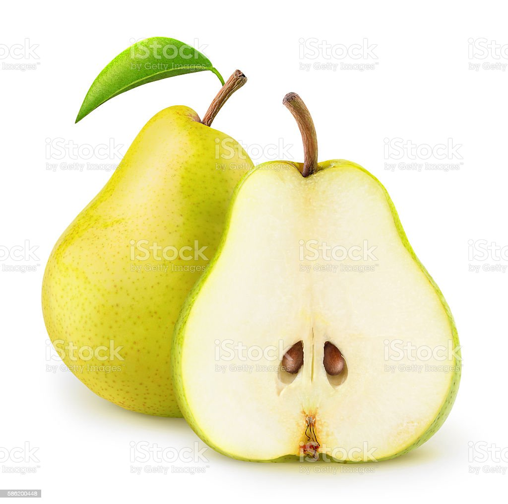 Isolated yellow pears stock photo