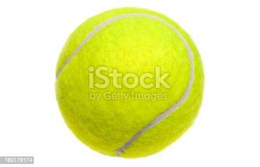 Closeup of a tennis balls without shadow, isolated on white.