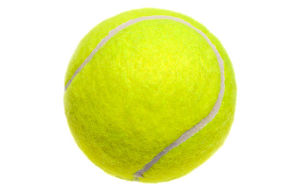 Isolated yellow tennis ball on white stock photo