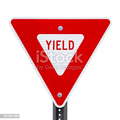 Yield sign isolated on white with clipping path.