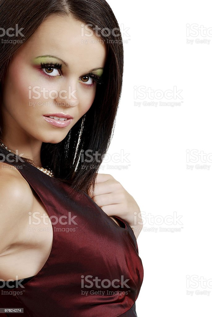 Isolated young brunette woman royalty-free stock photo