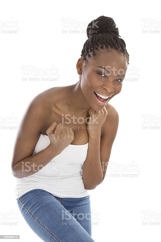 Isolated Young Happy Strapless African American Woman Stock Photo