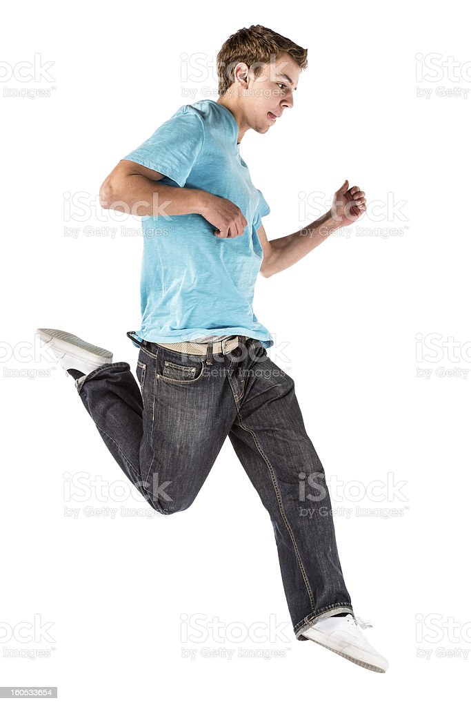Isolated Young Man Jumping royalty-free stock photo