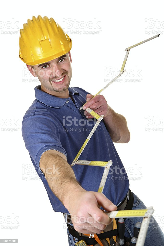 isolated young smailing standing worker royalty-free stock photo