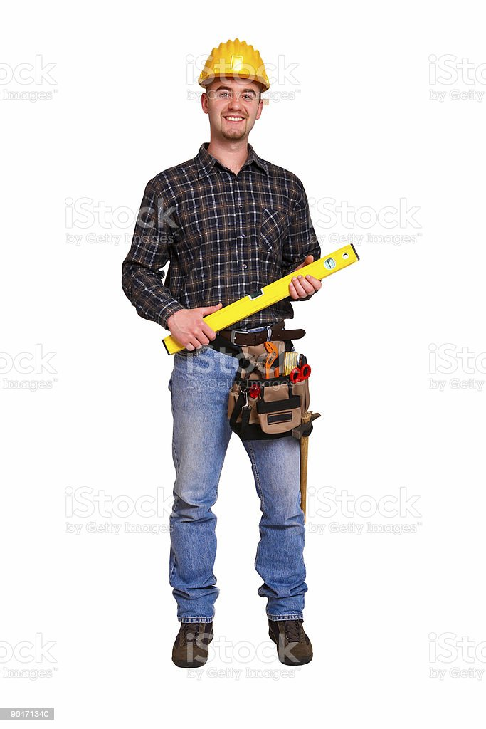 Isolated young worker with tools 10 royalty-free stock photo