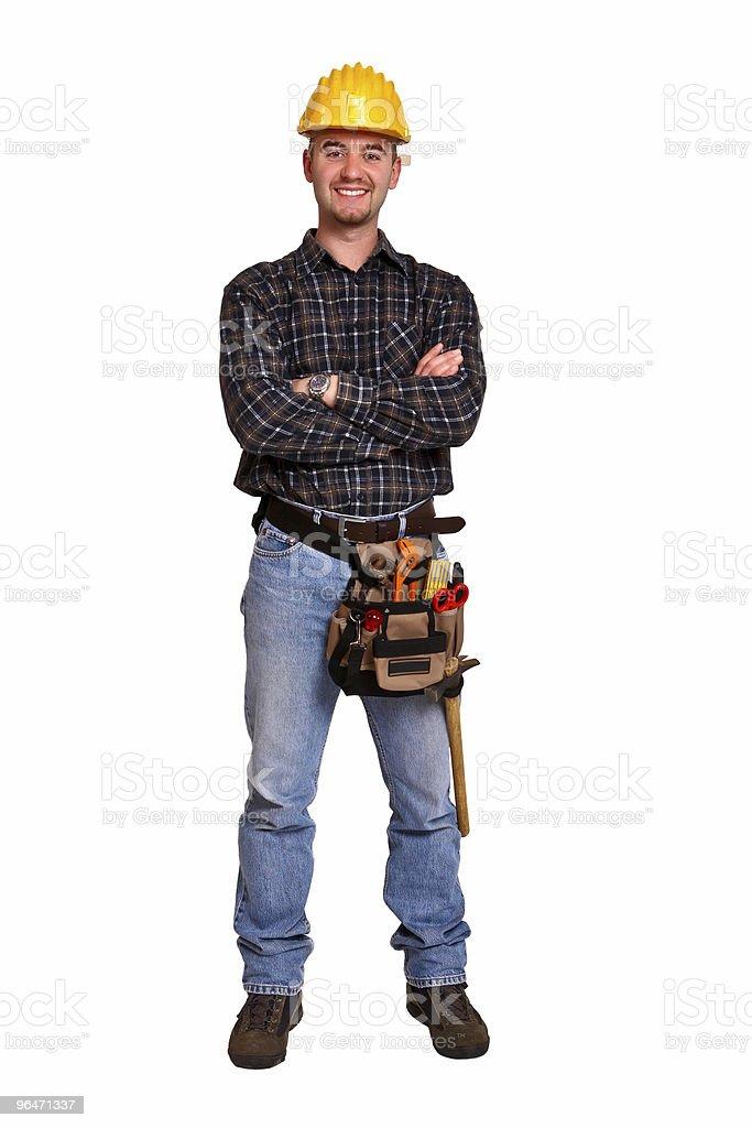 Isoliert junge Arbeiter mit Werkzeugen 7 Lizenzfreies stock-foto